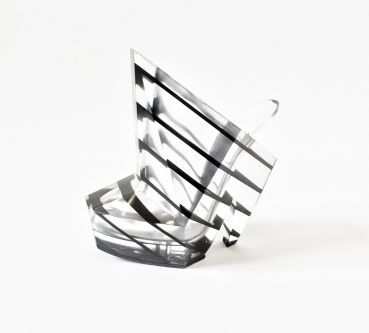 Abstract transparent shoes with black stripes