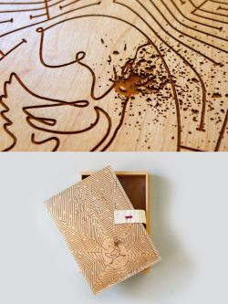 Carved wooden box by Daniel Cabral.