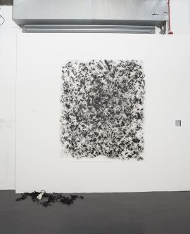 Abstract drawing made with placing of rope on paper by Shuang Wu.