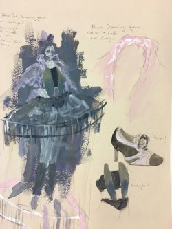 Costume sketch of shoes and dress