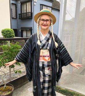 sheila wearing her kimono