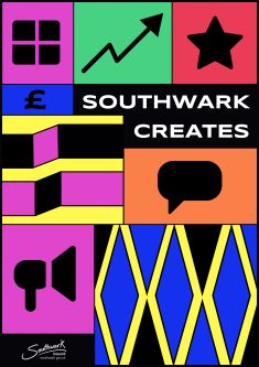 Poster for Southwark Creates made up of brightly coloured graphic shapes.