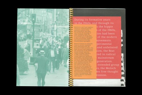 Double page spread from a book; right page tinted green with people walking. Left page red layered with white text