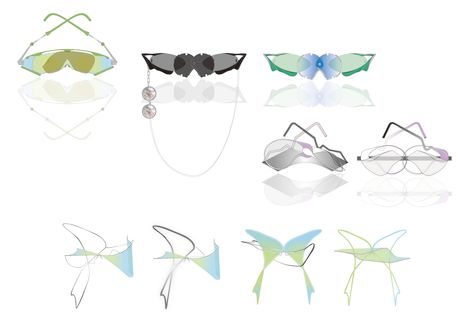 illustrations of nine eyewear accessories in shades of blue, green and black.