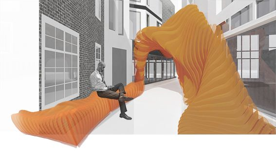 Architectural rendering of an outdoor functional sculpture.