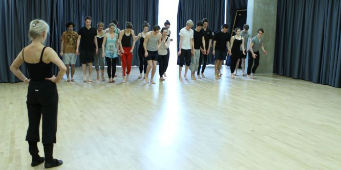 Students prepare for a movement class at Drama Centre
