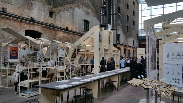 An installation of architectural structures.