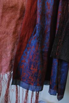 Richly colour blue and red fabrics