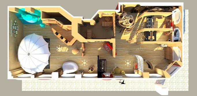 Birds eye plan of shop interior design