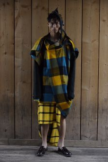 Deconstructed yellow and blue tartan suit