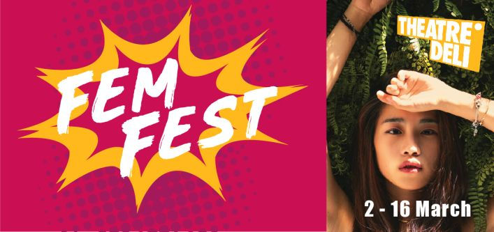 Poster design reading 'Fem Fest' on a pink and yellow background and showing a woman lying against leave.