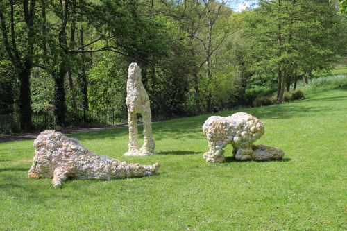 Three sculptures in park