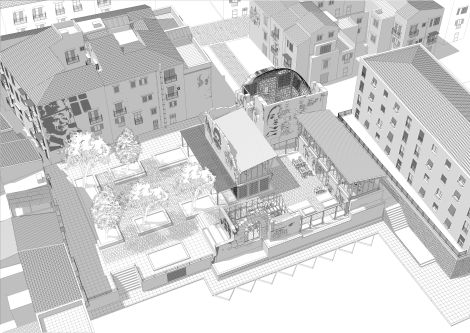 A grey scale architectural drawing