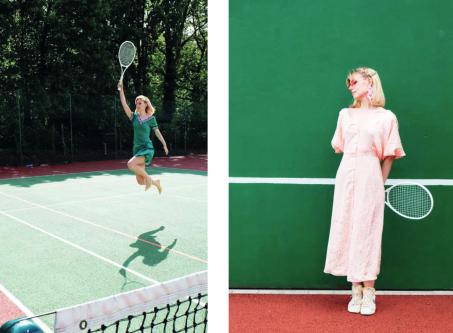 Model wearing dress holding tennis racket