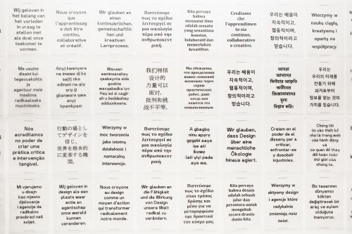 Wallpaper showing different A4 messages typed in a variety of languages.