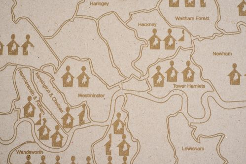 An engraved map of London representing levels of homelessness