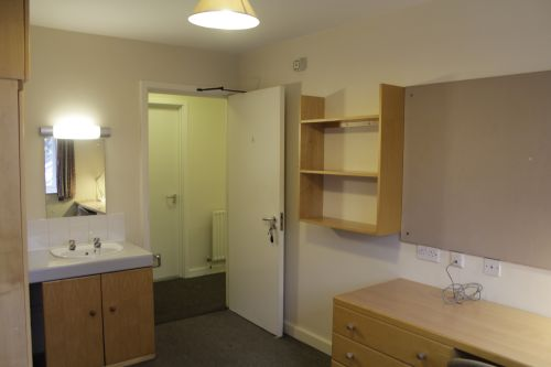 Bedroom with desk and chair, single bed, wardrobe, wide window, shelves, pinboard, with sink, mirror and vanity area.