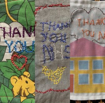 Embroidered details of scrubs reading 'Thank you NHS