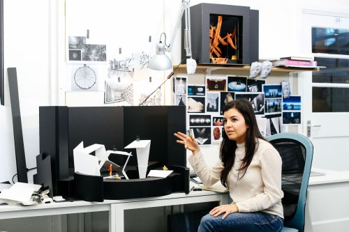 Laura Arroyo Rocha in her studio space at Wimbledon College of Arts