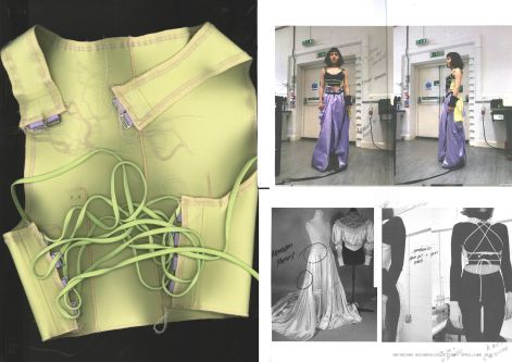 Student collage of fashion designs