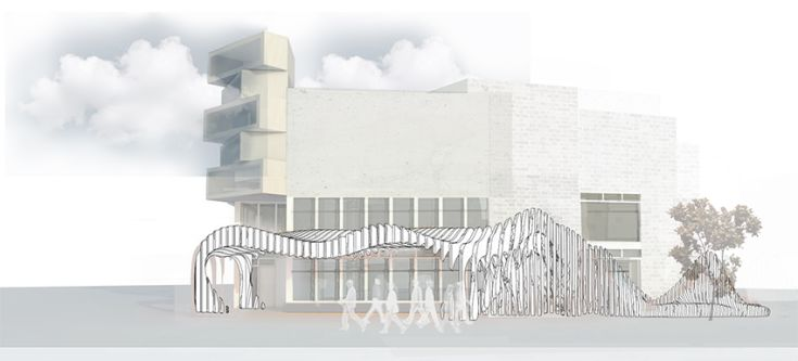 Architectural render of a postmodern building in grayscale.