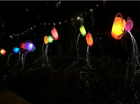 neon lit buckets