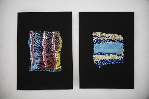 two recycled plastic textile knitted samples