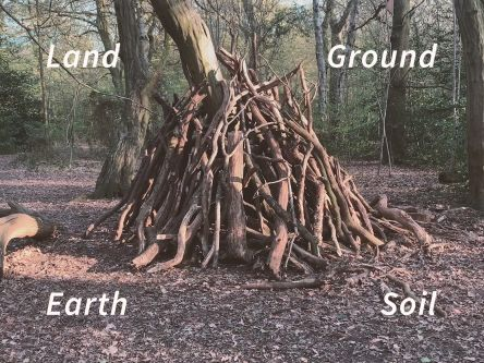A stack of branches on the middle of a forest. Land, Earth, Ground, Soil is written around the edge of the image