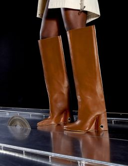 Long brown leather boots