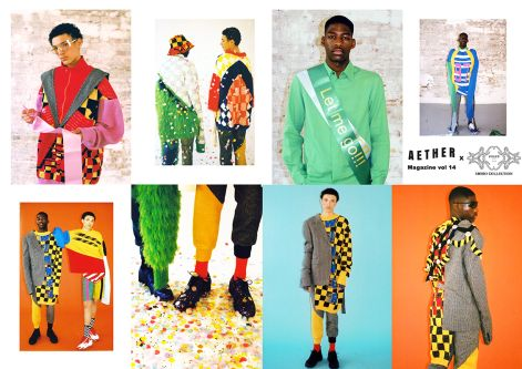 Knitted colourful clothing on male models