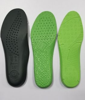 Green soles of shoes