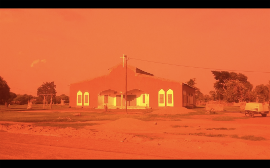 building with bright orange filter