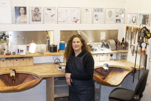Sarah King in her jewellery studio.