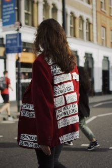 Lili Maxx Hager wearing a jacket covered in DIY patches