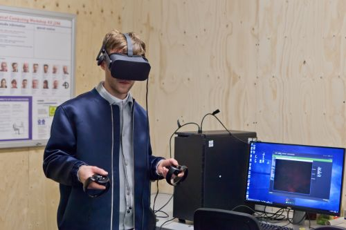 A person wearing a VR headset