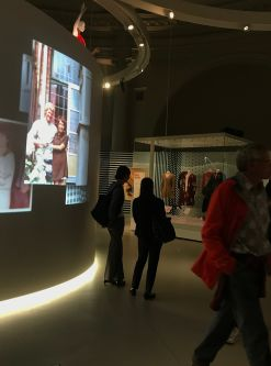 people looking at the Mary Quant exhibition