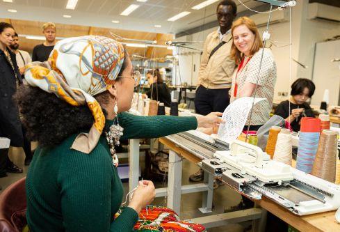 Textiles showing their work at the Swarovski portfolio viewing