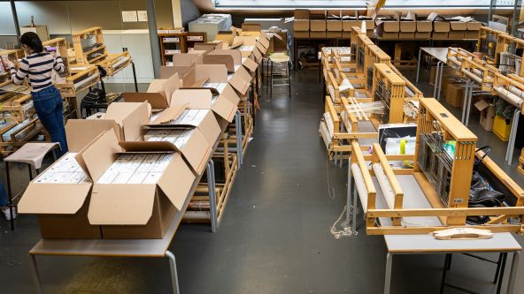 Image of the many boxes provided for Swarovski's Conscious Design student project with Central Saint Martins students