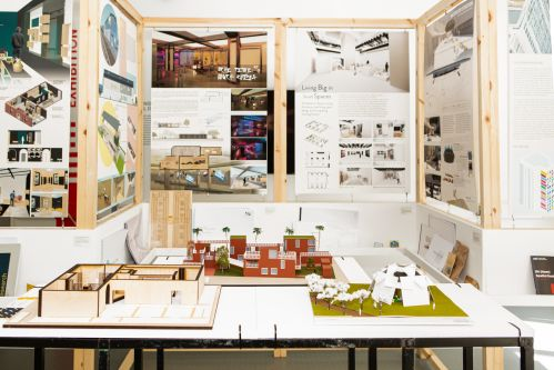 Display of work, including models and process works on the walls.