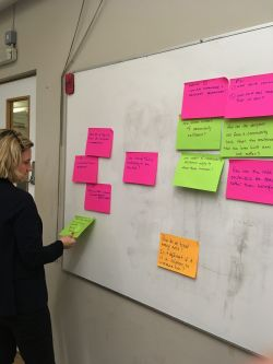 A PhD student sticking post-it notes on a wall
