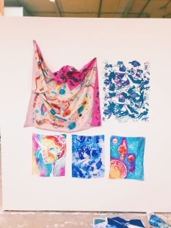 Emma's colourful Textile Design pieces at her final exhibition