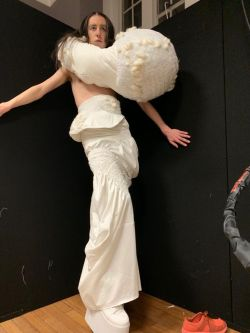 Model wearing a creation from the CSM White Show by Emily, a study abroad student