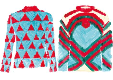 illustration of two blue faux fur garments with red and green detailing