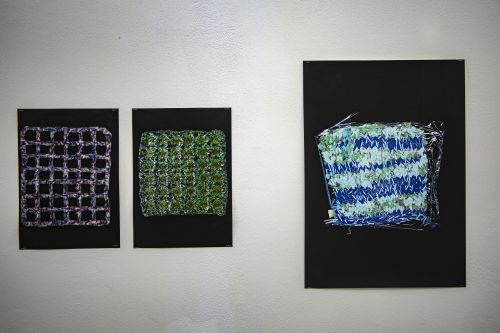 two textile knitted samples photographed and printed