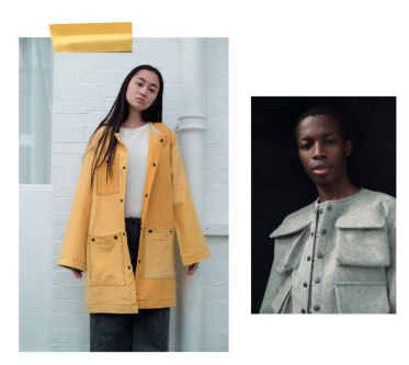 Model wearing yellow coat