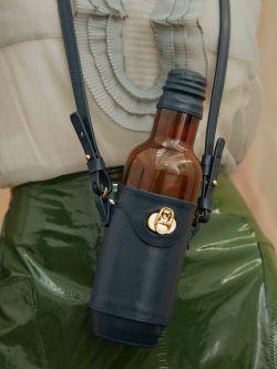 Navy leather bottle bag
