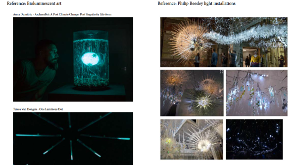 Images of bioluminescent art and light installations that inspired Riian's project