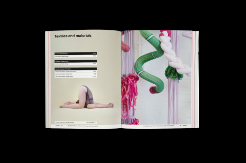 Mock-up of the 'Textiles' spread for the UAL prospectus