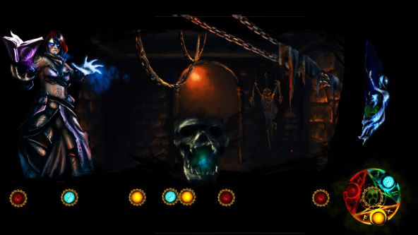 Image from a student-made video game showing a character in purple armour standing without a dimly lit space with lights and chains.
