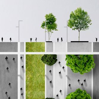 Architectural render of tree-lined urban street.